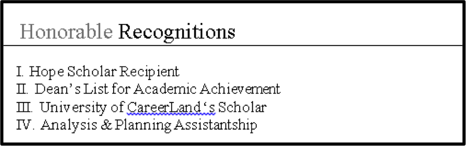 awards section of a resume