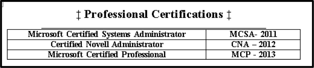certifications section of a resume