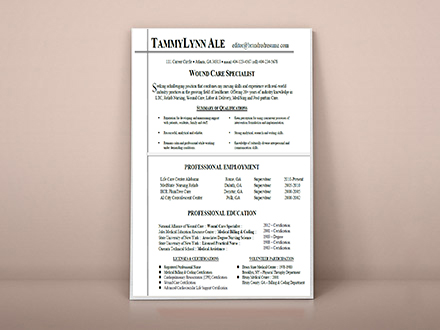 resume designed for wound care specialist