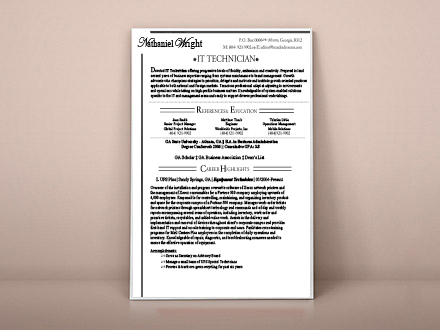 resume design for IT specialist